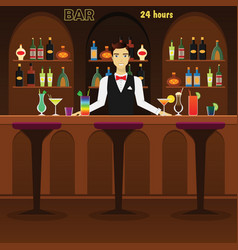 bar pub interior flat with vector image