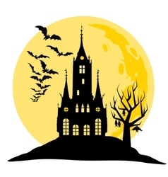 Halloween view of castle moon bats and hill vector image