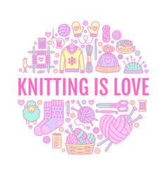 knitting crochet hand made banner vector image
