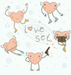Set with hearts vector image vector image