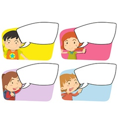 Speech bubble templates with girl and boy vector image vector image