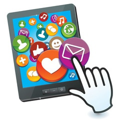 tablet pc with social media icons and hand cursor vector image vector image