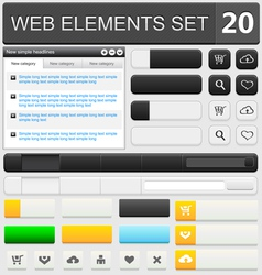 web elements set 20 vector image vector image