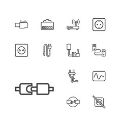 13 plug icons vector image