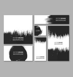 Abstract designs set with black paintbrush vector