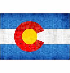 Abstract grunge mosaic flag of colorado vector