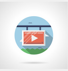 advertising video screen flat round icon vector image