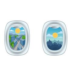 Airplane window view vector