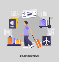 Airport registration concept vector