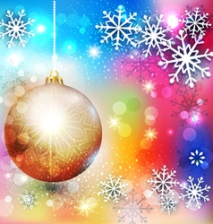 Background with Christmas ball and snowflake vector