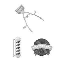 Barbershop and equipment monochrome icons in set vector