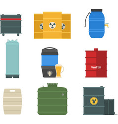 Barrel capacity tanks set vector image