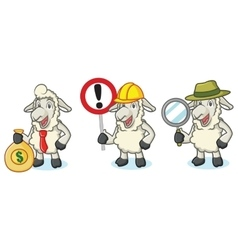 Beige Sheep Mascot with sign vector