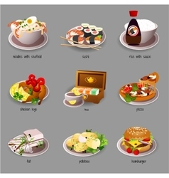 Big food set nine icons delicious dishes vector