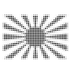 Black dot japanese rising sun icon vector