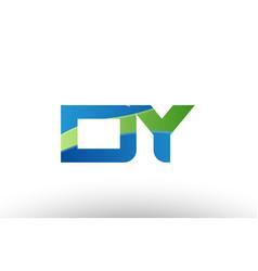 Blue green dy d y alphabet letter logo vector
