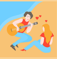 boy play the guitar for girl vector image