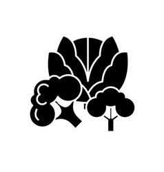 broccoli black icon sign on isolated vector image