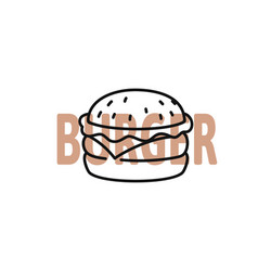 Burger outline with text on white vector
