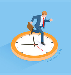 businessman running with clock isometric vector image