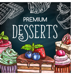 cakes and cheesecakes chalkboard sketch sweets vector image