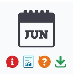 Calendar sign icon June month symbol vector