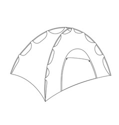 Camping tent shelter outline coloring page vector