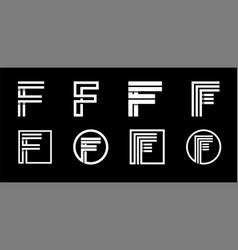 Capital letter f modern set for monograms logos vector