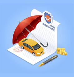 Car insurance services insurance contract documen vector