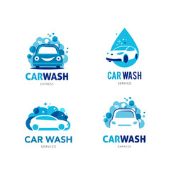 car wash set logos icons and elements vector image