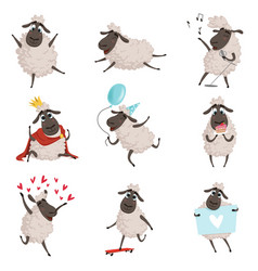 Cartoon farm animals sheep playing and making vector