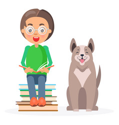 Child in glasses sitting with books and husky vector