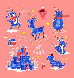 Christmas and happy new year holidays set vector