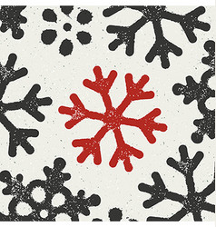 Christmas Background with red grungy snowflake vector