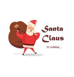 christmas card funny cartoon santa claus with vector image