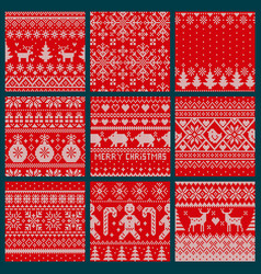 christmas embroidery seamless knitted pattern set vector image