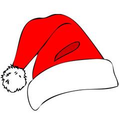 christmas hats red santa claus cap vector image