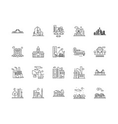 cityscape line icons signs set outline vector image