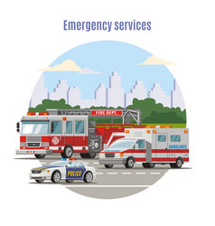 Colorful emergency city transport concept vector