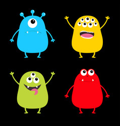 colorful monster silhouette set cute cartoon vector image