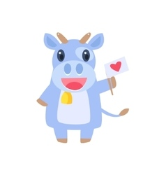 Cow Holding Flag With Heart vector
