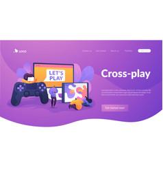 Cross-platform play landing page template vector