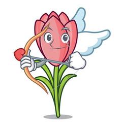 Cupid crocus flower character cartoon vector