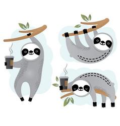 Cute sloth bear animal set vector