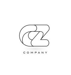 cz monogram letter logo with thin black monogram vector image