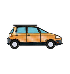 Drawing yellow car vehicle transport ecology vector