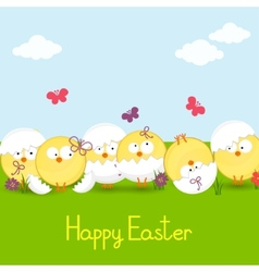 easter chickens against the sky vector image