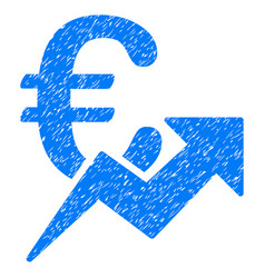 Euro growth grunge icon vector