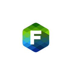 f hexagon pixel letter shadow logo icon design vector image