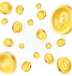 falling golden coins isolated on transparent vector image